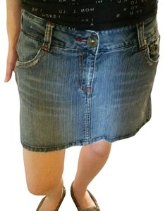 Marlow Vintage Jean Distressed Mini Mini Skirt Blue