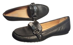 Coach Loafer Driving Shoe Leather Black Flats