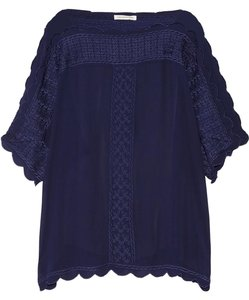 Étoile Isabel Marant Sheer Embroidered Navy Top Blue