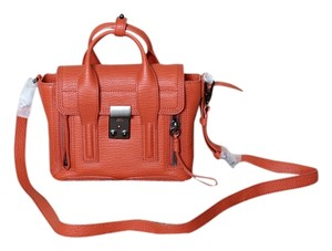 3.1 Phillip Lim Leather Gunmetal Hardware Crossbody Adjustable Strap Removable Strap Satchel in Persimmon (Organge Red)