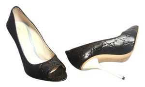 Gucci Gg Peep Toe Black & White Pumps