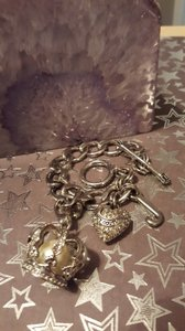 Juicy Couture Silver tone Charm Bracelet with Toggle Clasp