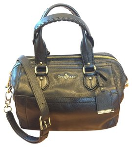 Cole Haan Crossbody Silver Hardware Satchel in Black Leather Structured
