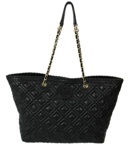 Tory Burch Leather Marion Tote in Black