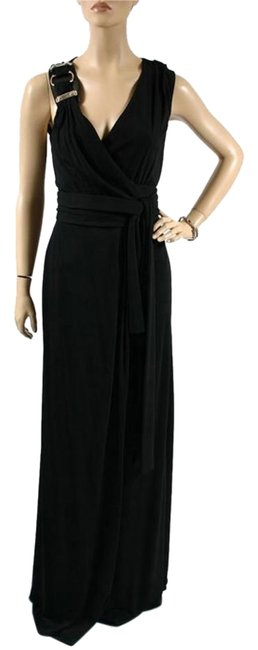 Item - Black With Leather Strap Long Formal Dress Size 6 (S)