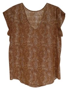 Joie Leopard Sleeveless Silk Top Tan