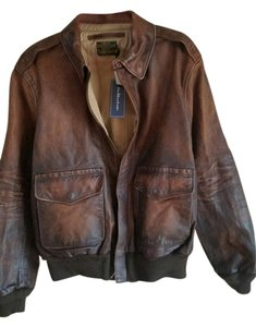 Ralph Lauren Polo Bomber Brand New Tags Distressed Brown Leather Jacket