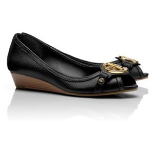 Tory Burch Leticia Open Toe Black Wedges