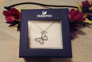 Swarovski Silver tone Necklace and Butterfly with Rhinestones Pendant