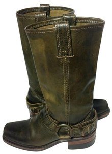 Frye Motorcycle 6 Green Boots