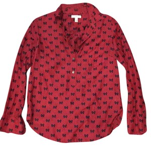 J.Crew Bows Holiday Festive Popover Top Red