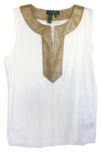 Lauren Ralph Lauren Gold Trim Cotton New Tunic