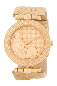 Versace Vanitas Watch VK7190014 Rose Gold Tone Leather Diamond Studs