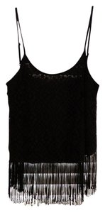 Marabelle Two For One Cream Fringe Camisole Top Black
