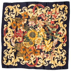 Chanel Chanel Navy & Gold Sunflower Print Scarf