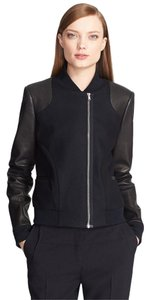 Prabal Gurung Leather Sleeves Bomber Leather Jacket