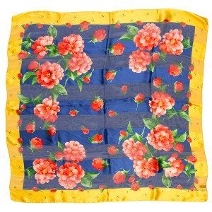 Valentino Valentino Blue, Yellow & Red Floral Print Scarf