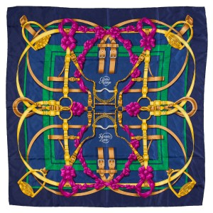 Hermès Hermes Navy, Pink and Gold 'Grand Manege' Print Silk Scarf
