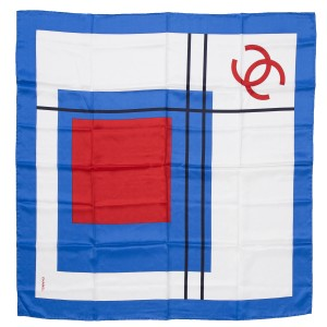 Chanel Chanel Red White & Blue Abstract Geometric Print Scarf