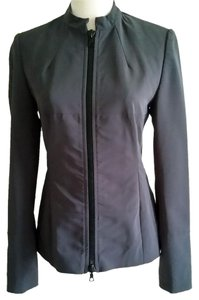 Karen Millen Midnight Gray Mandarin Collar Fitted Military Jacket