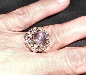 $50 off Solid 14k Gold 20 Diamonds Amethyst Ring, Free Shipping