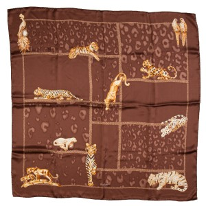 Cartier Cartier Brown and Gold Panther & Tiger Print Scarf