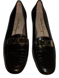 Salvatore Ferragamo Croc Emobossed Leather Loafers Brown Flats