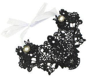 Black Lace Tie back Pearl Accent Choker Bib Victorian Necklace