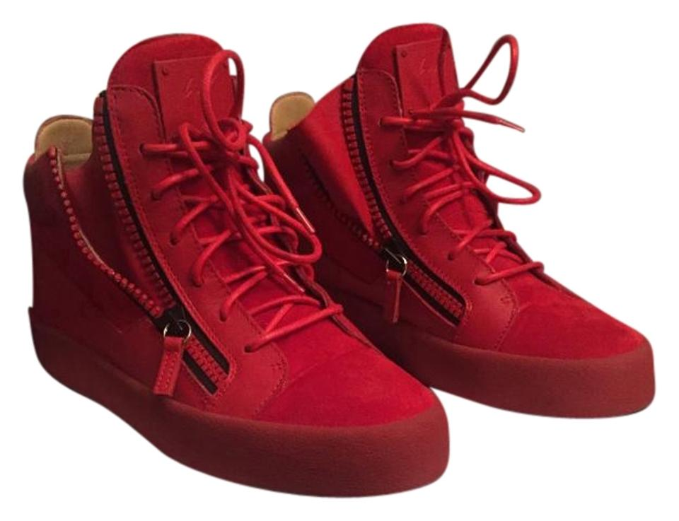 4599dbae0a866 Giuseppe Zanotti Suede Like New Silk Dust Bag Zip Closure Made In Italy Red  Athletic Image ...