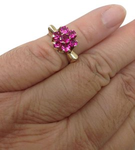 Other Size 4.25, 14k yellow gold, art deco, Pink gemstone, cluster ring
