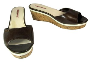 Prada Brown Leather Platform Wedge Cork Sandals