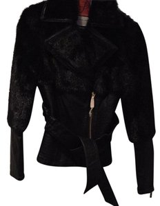 Marciano Leather Faux Fur Belted Leather Jacket