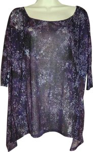Torn by Ronny Kobo Boho Asymmetrical Hem Storm Size Small Top Purple, Multi