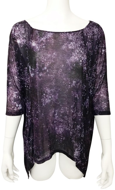 Item - Purple Multi Asymmetrical Hem Blouse Size 4 (S)