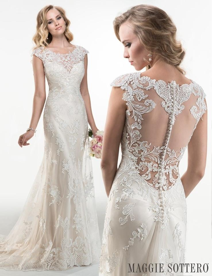 Maggie Sottero Ivory/Light Gold Tattoo Lace Over Silky Satin ...