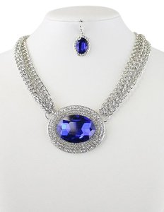 Other Chic Blue Oval Crystal Charm Silver Chain Necklace and Earring