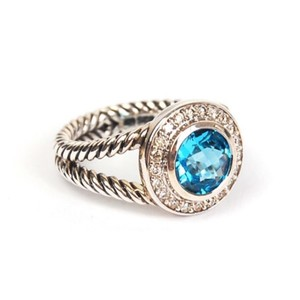 David Yurman Silver Blue Topaz Dismond Cerise Ring