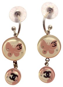 Chanel Butterfly CC Logo Resin Circle Disk Crystal Lucite 07P Drop Dangling