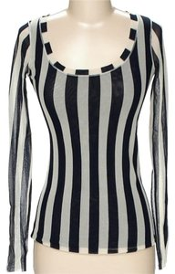 Fuzzi Striped Sheer Longsleeve Top Navy & Ivory