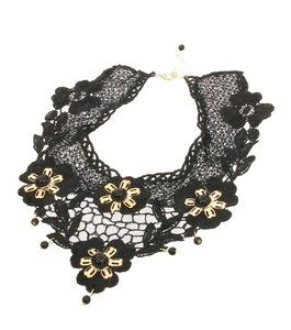 Other Gold Metal Flower Accent Black Lace Choker Bib Victorian Necklace