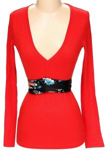 Just Cavalli V-neck Silk Wool Sash Bright Top Red