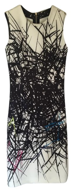 Item - Black and White Multi Colored No Above Knee Work/Office Dress Size 2 (XS)