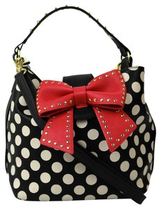 Betsey Johnson Bow Tie Pokedots Leather Studded Satchel in Black