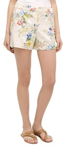 Anthropologie Floral Print Dress Shorts Cream/ Muti
