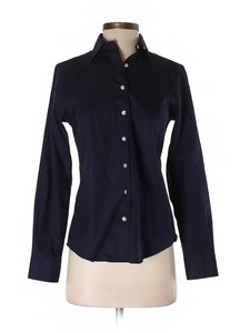 Lands' End New Long Sleeves Cotton Ladies Button Down Shirt Navy blue
