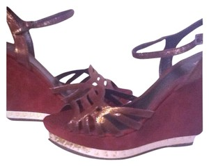 Fendi Burgundy Suede Wedges