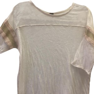 Free People T Shirt Cream w/pink &lt gold arm bands