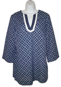Brooks Brothers Geometric Cotton Grosgrain Blue Tunic