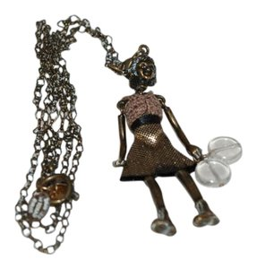 SERVANE GAXOTTE SERVANE GAXOTTE 131016 $400 GOLD TONE BRASS RARE DOLL PENDANT NECKLACE