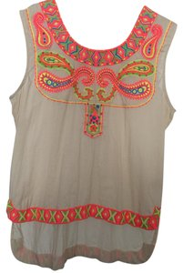 Anthropologie Embroidery Top Beige multi